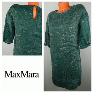 S' MAX MARA 40 Medium DRESS Green Damask